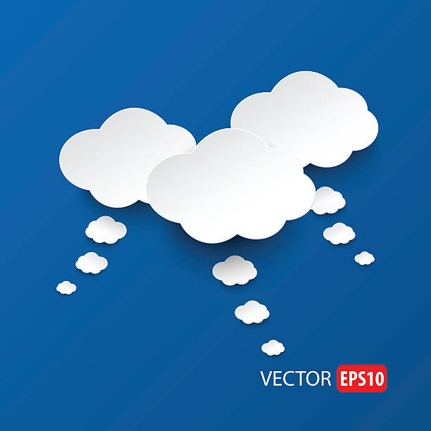 White clouds on sky blue background vector. vector art illustration