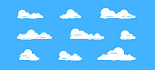 White clouds set isolated on a blue background. Simple cute cartoon design. Icon or logo collection. Realistic elements. Flat style vector illustration.