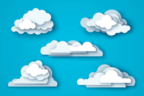 White clouds set on blue sky White clouds set isolated on blue sky background. Vector illustration. Layered paper cut style with shadows. clouds stock illustrations