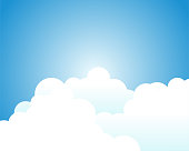 White clouds with blue sky and gradient background with space on beside for text.