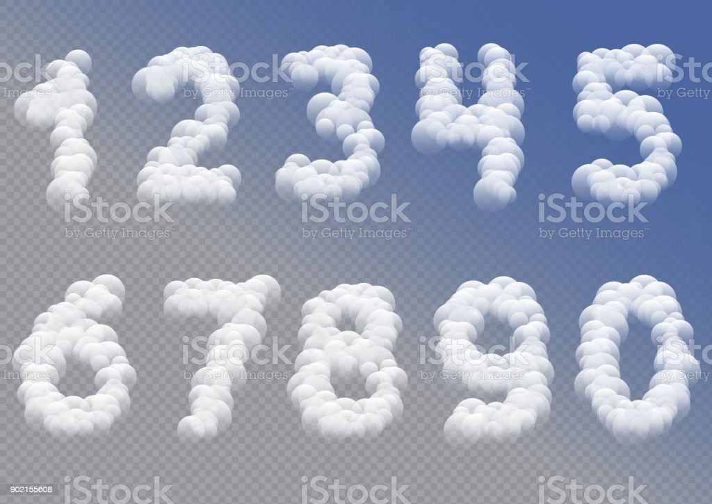 White cloudy 2018 numbers vector art illustration