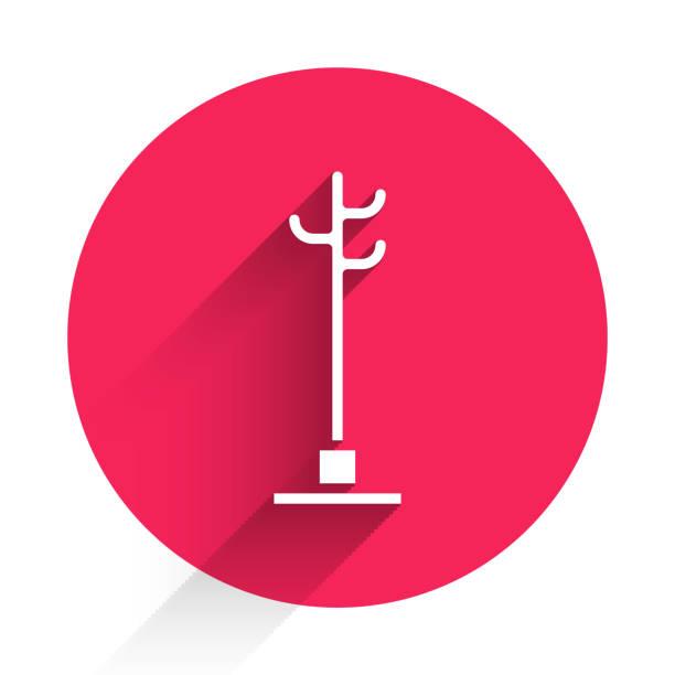 bildbanksillustrationer, clip art samt tecknat material och ikoner med white coat stativ ikon isolerad med lång skugga. knappen röd cirkel. vektor illustration - wood sign isolated