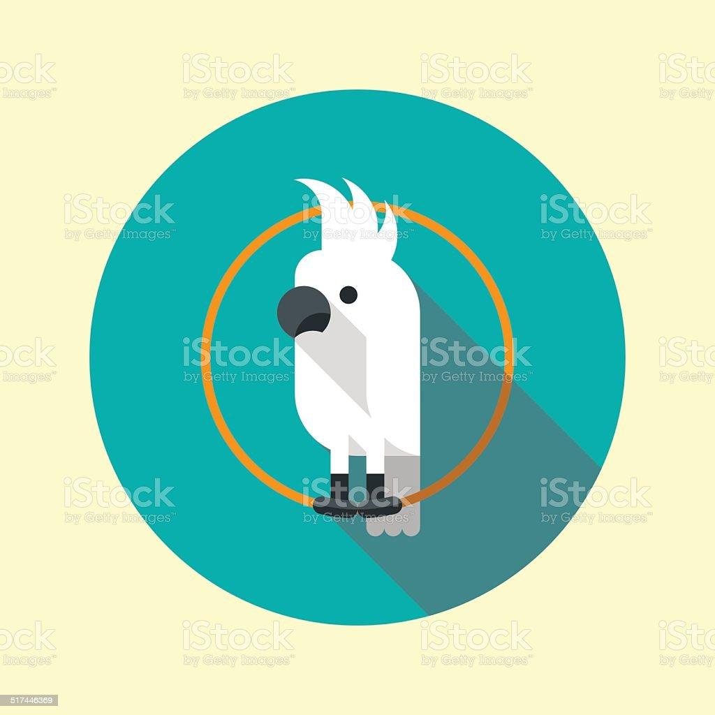 White cockatoo parrot long shadow flat design icon. Vector illustration. vector art illustration