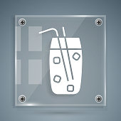 White Cocktail and alcohol drink icon isolated on grey background. Square glass panels. Vector Illustration