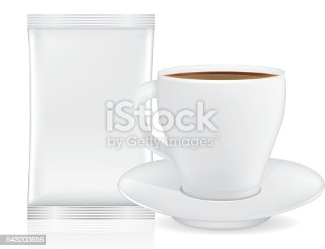White coffee cup and saucer near blank sachet small size isolated on white. This illustration for pack shot of coffee, tea, or other drink.