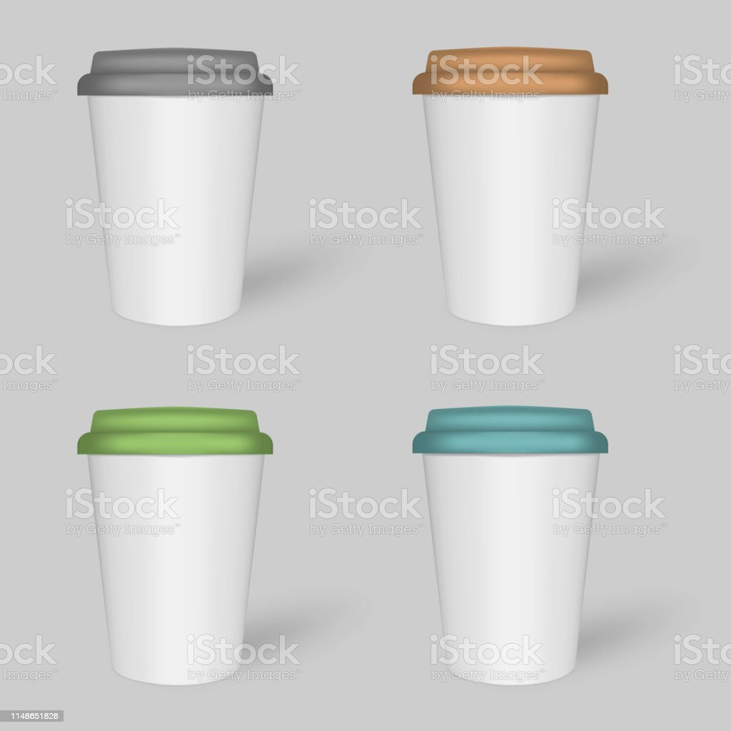 White Coffee Cup With Colored Lid Travel Mugs Vector Mockup