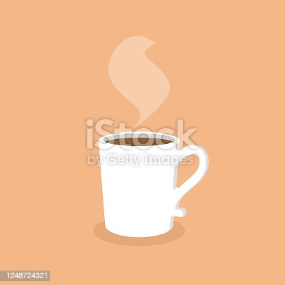 istock White Coffee Mug Flat Design. 1248724321