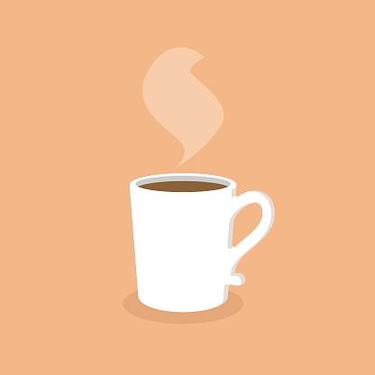 White Coffee Mug Flat Design.