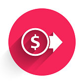 istock White Coin money with dollar symbol icon isolated with long shadow. Banking currency sign. Cash symbol. Red circle button. Vector Illustration 1262979378