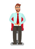 White Collar Worker in Chair Flat Illustration