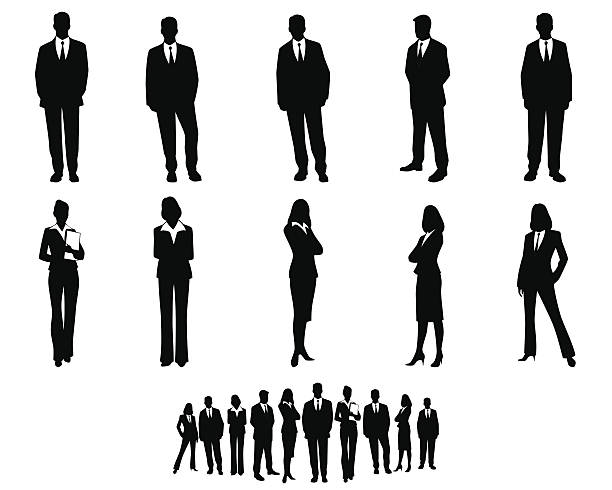 white collar workers set - businessman stock illustrations, clip art, cartoons, & icons