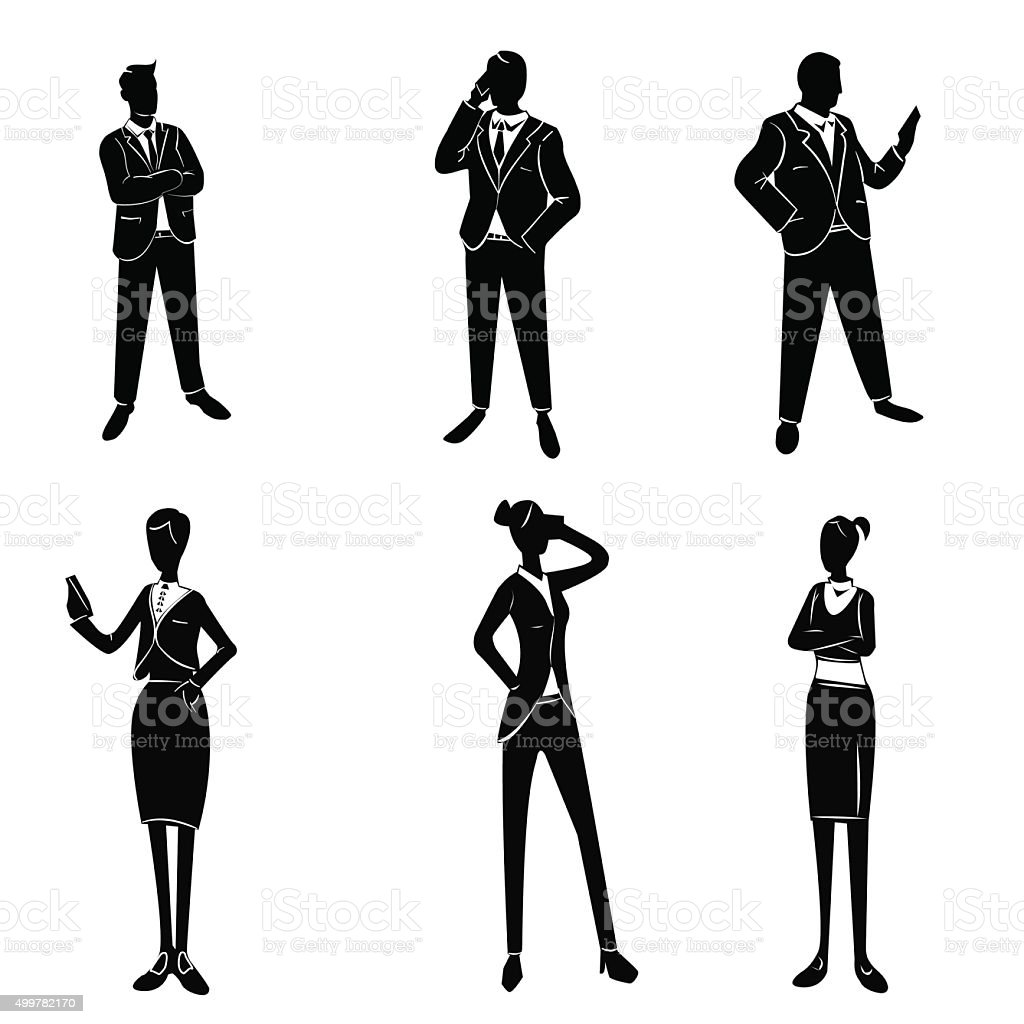 White collar workers set vector art illustration