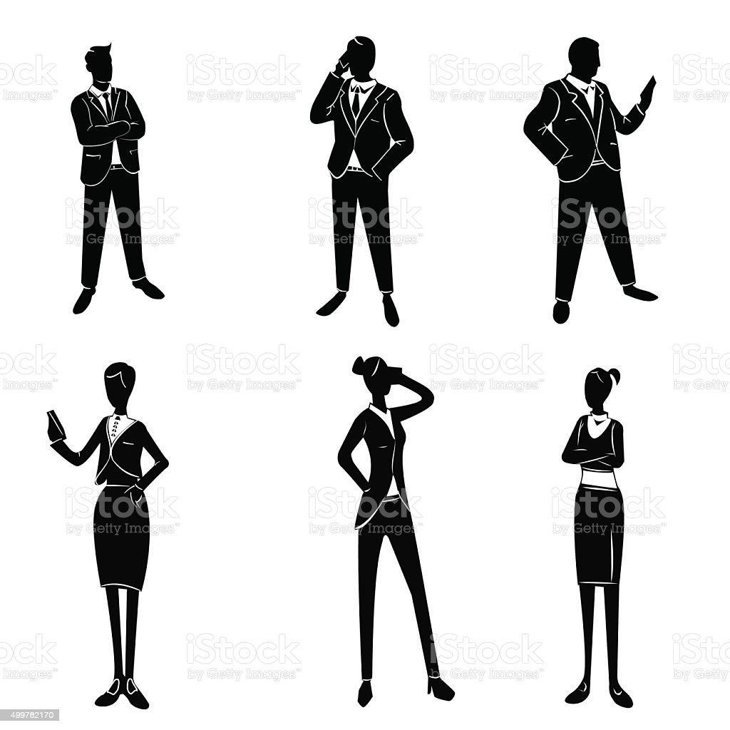 White collar workers set vector art illustration