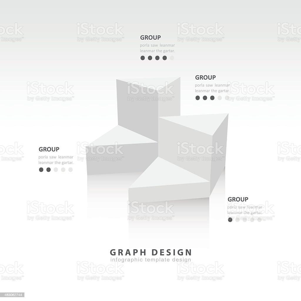 white colore  triangle graph infographic vector art illustration