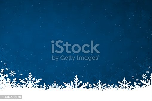 White colored snow and snowflakes at the bottom of a navy blue colored horizontal background vector illustration. Can be used as Xmas , New Year's eve, New Year day background, wallpaper, gift wrapping sheet. Small glitter like or glittery dots shining here and there.