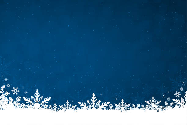 White colored snow and snowflakes at the bottom of a dark blue horizontal Christmas background vector illustration White colored snow and snowflakes at the bottom of a navy blue colored horizontal background vector illustration. Can be used as Xmas , New Year's eve, New Year day background, wallpaper, gift wrapping sheet. Small glitter like or glittery dots shining here and there. holidays stock illustrations