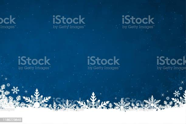 White Colored Snow And Snowflakes At The Bottom Of A Dark Blue Horizontal Christmas Background Vector Illustration Stock Illustration - Download Image Now