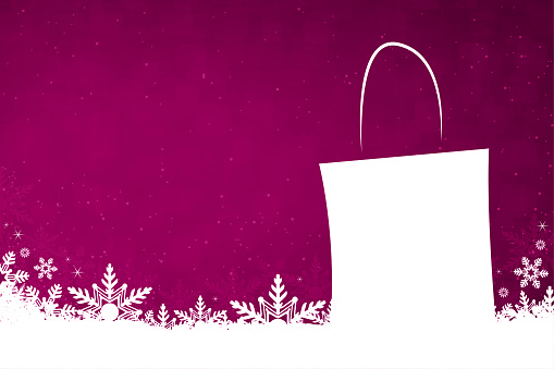 White colored snow and snowflakes at the bottom of a vibrant magenta fuschia pink or purple color  horizontal Christmas festive vector backgrounds with a blank, empty shopping bag with no text and no people