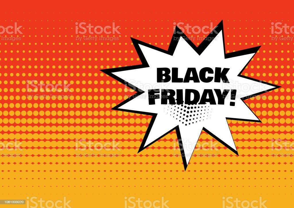 Weiße Comicblase Mit Black Friday Wort Auf Orangem Hintergrund ...