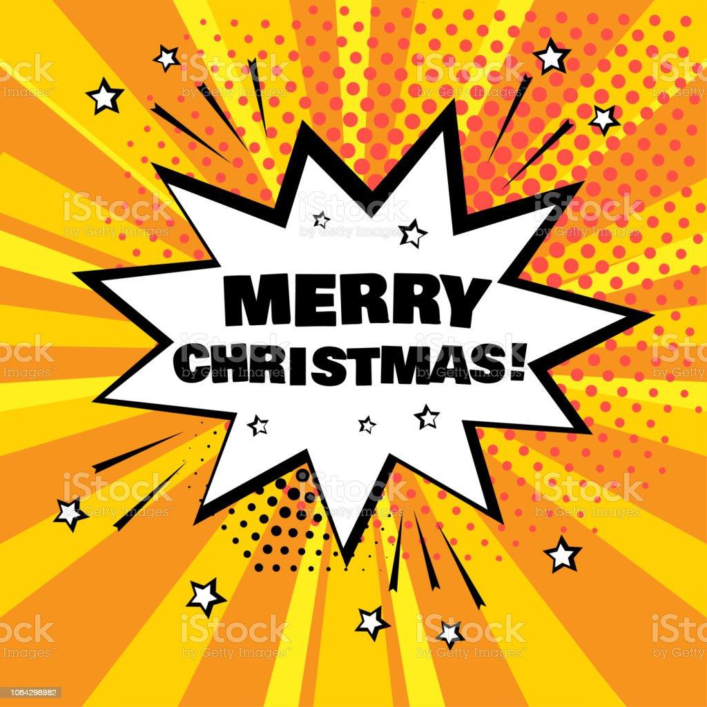 Weiße Comicblase Mit Merry Christmas Wort Auf Orangem Hintergrund ...