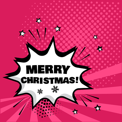 White Comic Bubble With Merry Christmas Word On Pink