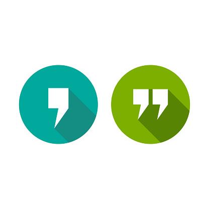 white comma and qoutation mark icons set isolated on white. Flat punctuation isigns.