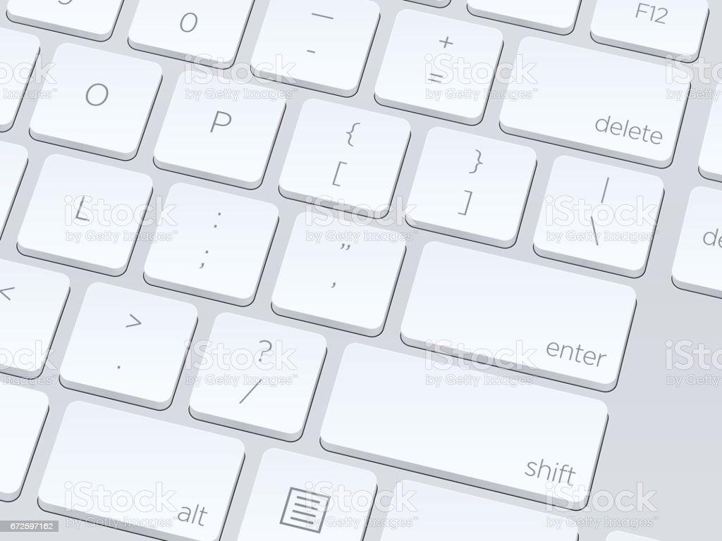 White computer keyboard. Close up image. Vector illustration background. vector art illustration