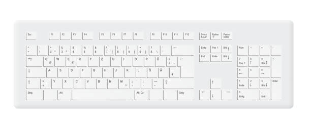 white computer keyboard - computer keyboard stock illustrations, clip art, cartoons, & icons
