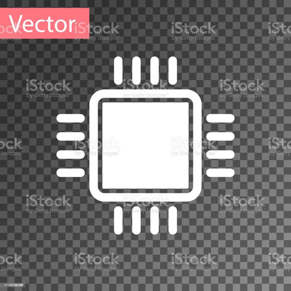 White Computer Processor With Microcircuits Cpu Icon
