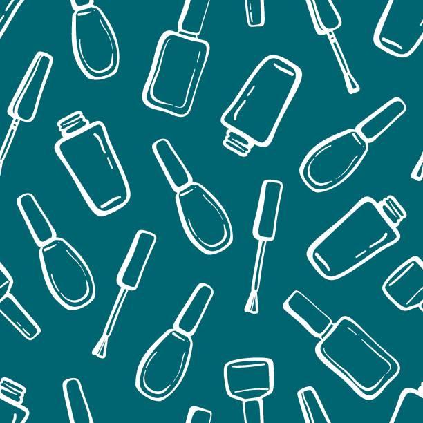 White contour nail polish bottles and brushes seamless pattern on dark blue green background. White contour nail polish bottles and brushes seamless pattern on dark blue green background. Hand drawn vector illustration. white nail polish stock illustrations