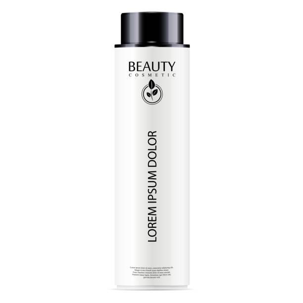weiße kosmetische flasche gesichtswasser, haarshampoo oder dusche gel. vektor-design-vorlage. kosmetikverpackungen mock-up. realistische 3d darstellung. - shampoos stock-grafiken, -clipart, -cartoons und -symbole