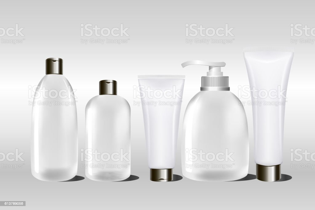 White cosmetic cream container, cream tube, shampoo. Mock up bottle. vector art illustration