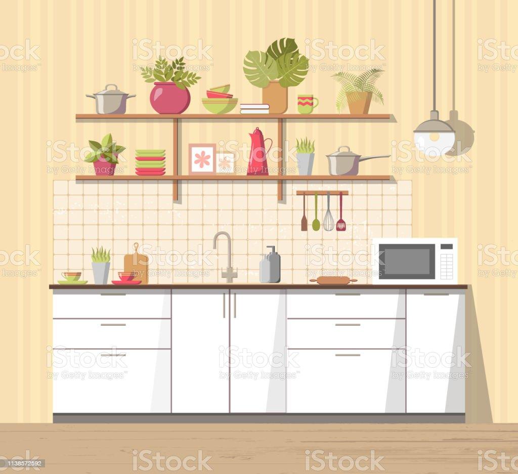 Etagere Dessus Micro Onde intérieur blanc de cuisine confortable avec des meubles