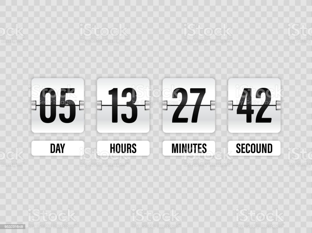 white countdown timer with white numbers isolated on