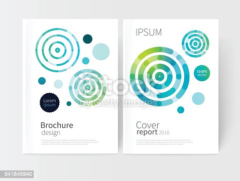 White cover brochure. modern abstract geometric vector background. brightly colored green and blue concentric circles. Cover design template business brochures, booklets, leaflets, flyers, books, magazine. set of two covers