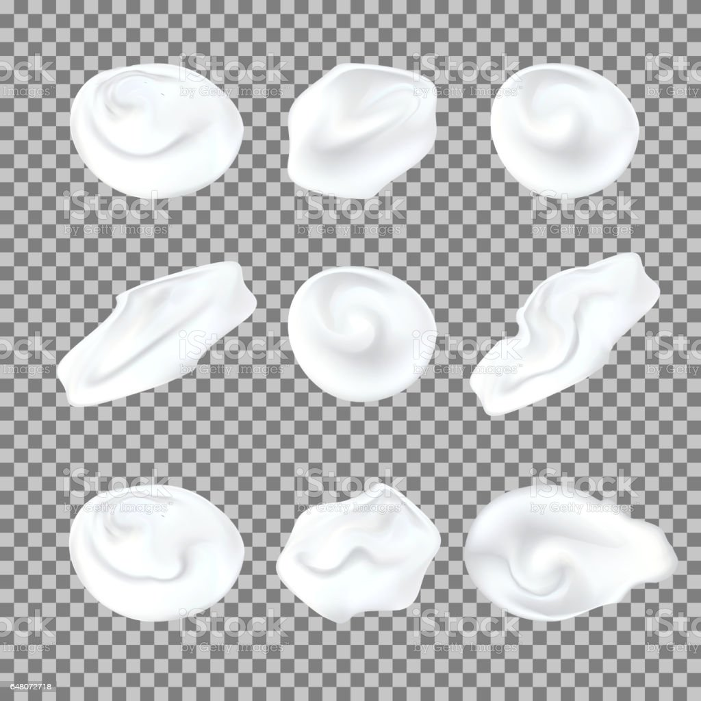 White cream elements. Element for advertising and promotional message. Vector illustration for your design and business vector art illustration