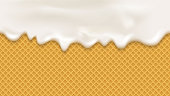White cream in realistic style on wafer background.  Cooking seamless background. Sweet Bakery pattern.