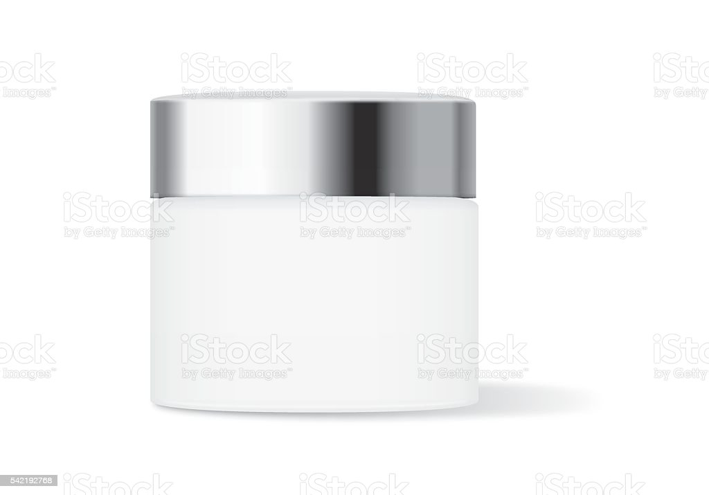 White cream jar with silver lid vector art illustration