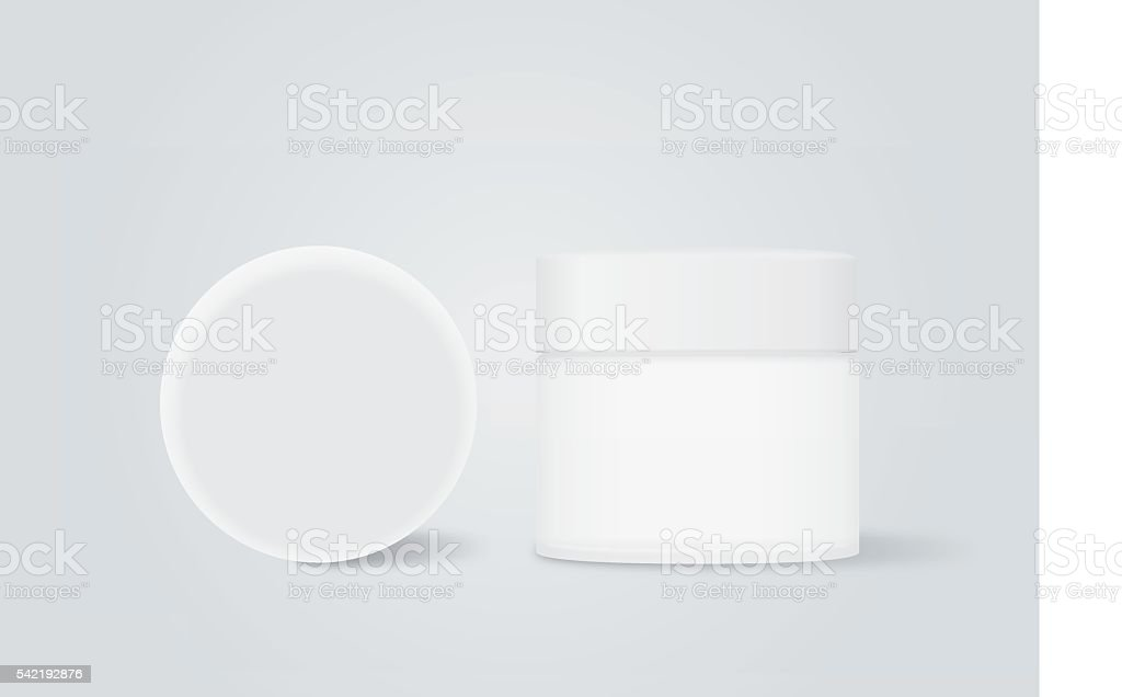 White cream jar with white cap vector art illustration