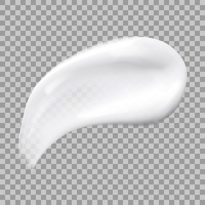 White cream smear isolated on transparent background. Realistic skincare make up swatch. Vector illustration of cosmetic smudge. Cream beauty product like foundation, lotion, sunscreen, skin care milk