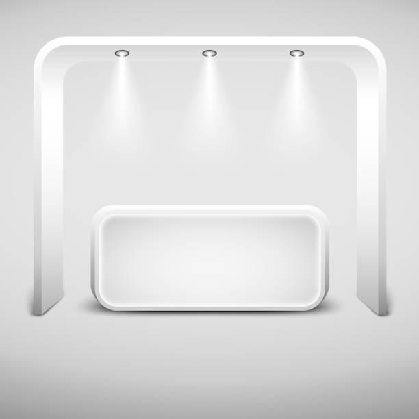 Diseño de stand de exposición creativa blanco. Cabina de vector vacío. EPS10 Vector - ilustración de arte vectorial