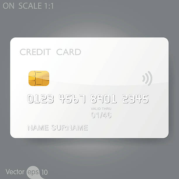 White credit card template vector art illustration