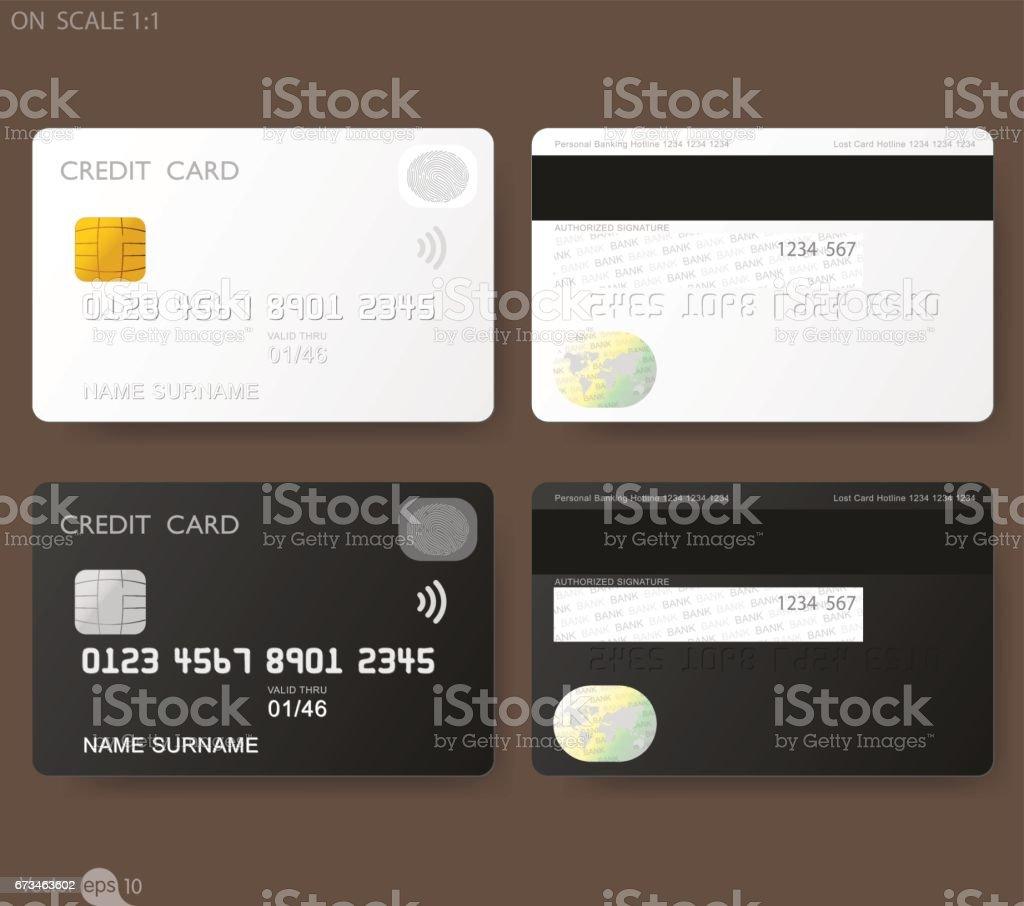 Weißen Kreditkarte Vorlage Mit Fingerabdruckauthentifizierung ...