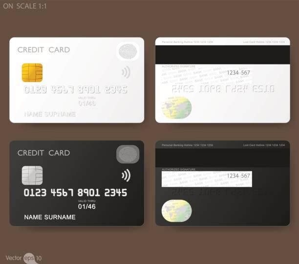 指紋認証と白いクレジット カード テンプレート - クレジットカード点のイラスト素材/クリップアート素材/マンガ素材/アイコン素材