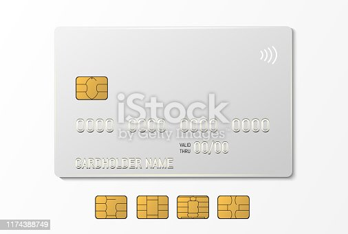 White credit plastic card with emv chip. Contactless payment.
