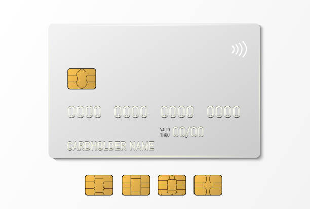 White credit plastic card with emv chip. Contactless payment White credit plastic card with emv chip. Contactless payment. computer chip stock illustrations