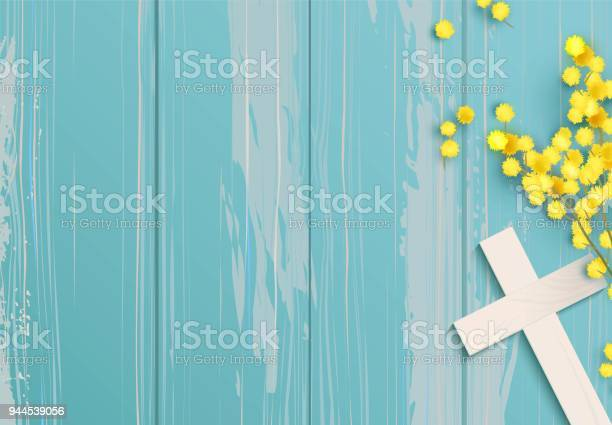White cross and mimosa banch on rustic wooden background vector id944539056?b=1&k=6&m=944539056&s=612x612&h=ru 3eesf1t21uspw  etrnkqm7in9tm1oyfn9ebtqci=