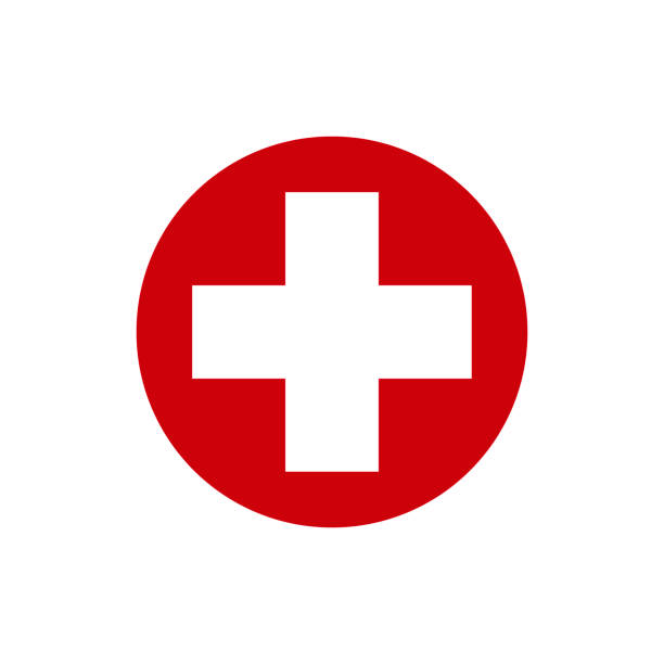 white cross in a red circle. first aid icon. vector illustration - crossing stock illustrations