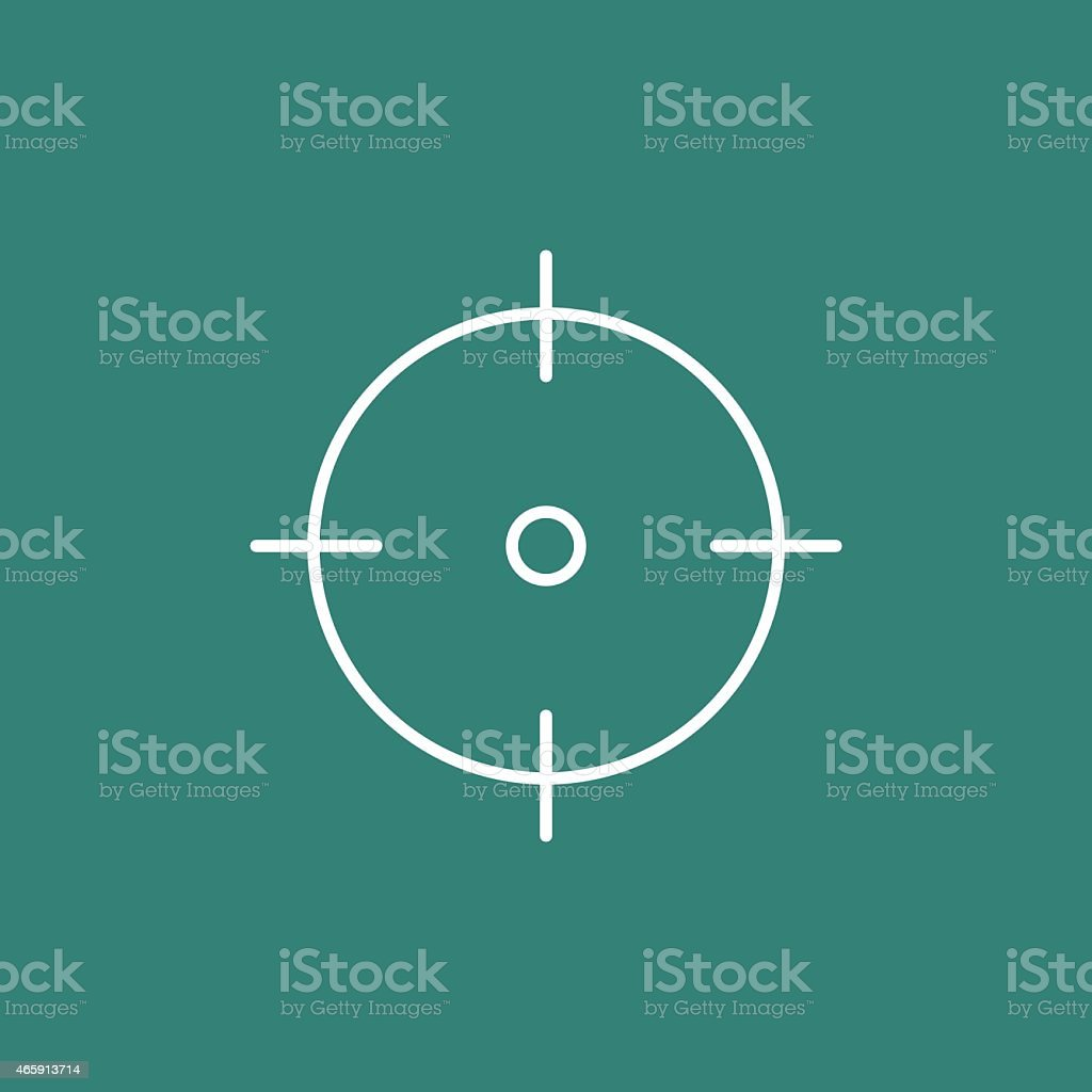 White crosshairs graphic against blue/green background vector art illustration