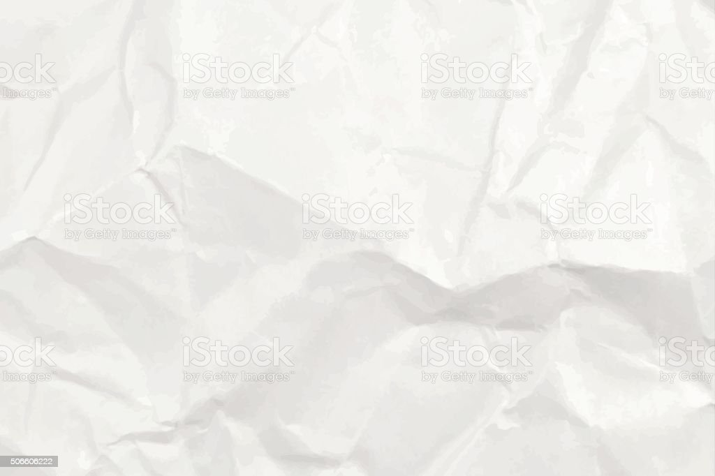 white crumpled paper texture or background vector art illustration